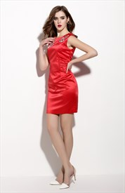 Red Sleeveless Embroidered Sheath Cocktail Dresses