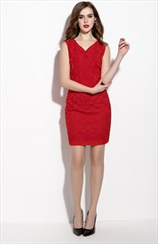 Red Sleeveless V Neckline Sheath Cocktail Dress With Lace Applique