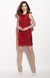 Red Sleeveless Illusion Neckline Sheath Cocktail Dresses