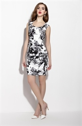 White And Black Sleeveless Floral Print Sheath Cocktail Dress