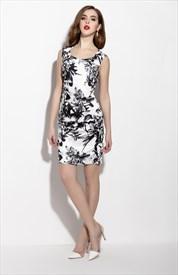 White And Black Sleeveless Floral Print Sheath Cocktail Dress