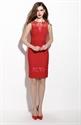 Red Sleeveless Lace Illusion Neckline Sheath Cocktail Dress