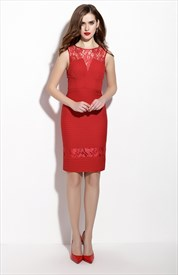 Red Sleeveless Lace Illusion Neckline Sheath Cocktail Dress