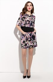 Casual Black Half Sleeve Floral Print Summer Dress