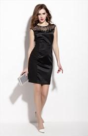 Black Sleeveless Illusion Neckline Sheath Dress With Beaded Embellished