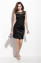 Black Sleeveless Illusion Neckline Sheath Dress With Beaded Embellished
