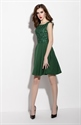 Emerald Green Square Neckline Fit And Flare Skater Dress