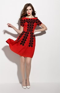 Red Short Sleeve Fit And Flare Skater Dress With Black Lace Applique