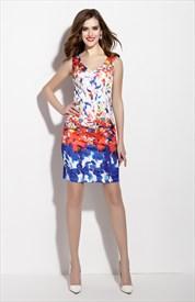 Multi Colored Sleeveless V Neck Sheath Cocktail Dress