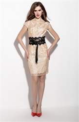 Champagne Floral Lace Overlay Sheath Cocktail Dress With Cap Sleeve