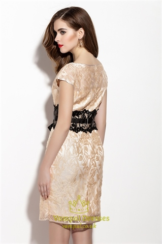 Champagne Floral Lace Overlay Sheath Cocktail Dress With