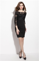 Black Sheer Illusion Neckline Sheath Dress With 3/4 Length Sleeves